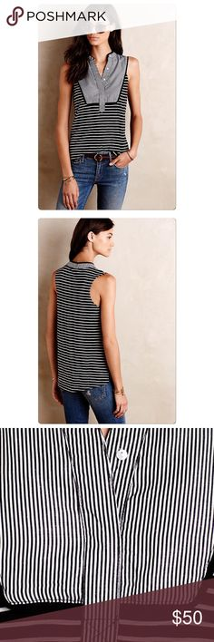 🚫Sold🚫Anthropologie Osten Tank DETAILS Cotton Piping detail at placket Pullover styling Machine wash Imported Style No. 4112265744444 Anthropologie Tops Tank Tops