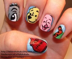 This is a mini tutorial on how to create precious Winnie the Pooh nails! Winnie the pooh nails. winnie the pooh nails awww! Fancy Nails, Love Nails, How To Do Nails, Pretty Nails, Style Nails, Dream Nails, Disney Inspired Nails, Nail Art Blog, Prego