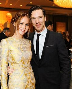 Benedict cumberbatch and Jennifer Lawrence  :) I don't know if this is real or not but they look cute together