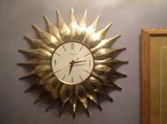 "1960s Spartus ""Leaf"" clock. Cleaned body and replaced old movement with a Quartz  movement, and replaced the hands."