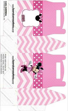 Caja lunch. Minnie en rosa. Minnie Mouse Baby Shower, Minnie Mouse Pink, Minnie Mouse Party, Minnie Mouse Birthday Decorations, Mickey Mouse Birthday, Eid Cards, Diy Gift Box, 6th Birthday Parties, Paper Dolls