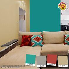 Atrévete a utilizar colores intensos en tu sala, le darás un toque sorprendente. #Decoracion #Color #sala Paint Colors For Living Room, Paint Colors For Home, Bedroom Colors, Teal Wall Colors, Teal Walls, House Color Schemes, House Colors, Guest Bedroom Decor, Living Room Decor