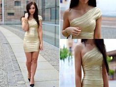 Gold Bandage Dress!!  (by Rebekah Wing) http://lookbook.nu/look/3859794-Let-s-go-out-clubbing