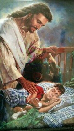 ❤️Jesus will never leave us! He is always watching over us! Thank you Jesus! What a beautfiul image! Pictures Of Jesus Christ, Religious Pictures, Religious Art, Jesus Our Savior, Jesus Is Lord, Image Jesus, Religion, Jesus Painting, Jesus Christus