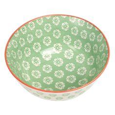 Large Japanese Bowl Green Pansies | DotComGiftShop