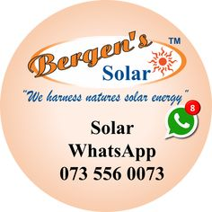 We are on WhatsApp and will respond to your enquiry. Let us know what your Solar needs are are we will get back to you.  #solar #solarhome #solargeyser #solarpool #solarpower #southafrica #quote  Bergens Solar WhatsApp:   073 556 0073 Email:   solar@bergens.co.za