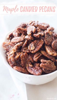 One of my favorite homemade candy recipes is this Maple Candied Pecans recipe made on the stove (no egg whites!) with sweet maple syrup and cinnamon sugar. One of the best holiday appetizers! Fall Dessert Recipes, Fall Desserts, Candy Recipes, Thanksgiving Desserts, Christmas Desserts, Christmas Recipes, Fall Recipes, Holiday Recipes, Pecan Recipes