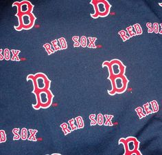 Red Sox cotton fabric dark blue background material scrap.
