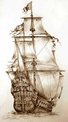 Tall Ships and Maritime History - British four-masted bark SAMARITAN, Tall Ship Amerigo Vespucci, Pommern ( 1903 ) Four Masted Barqu - Amazing Drawings, Beautiful Drawings, Pirate Ship Drawing, Stürmische See, Moby Dick, Pirate History, Old Sailing Ships, Ship Art, Model Ships
