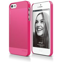 iPhone 5 - white phone with a pink cover <3