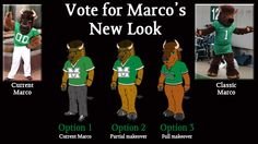 Marshall University's beloved mascot is getting a new costume, and for the first time the responsibility of choosing his new look is in the hands of Thundering Herd fans and friends. Enter to win a tailgate package by casting your vote for Marco's New Look!