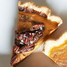 Pecan pie meets pumpkin. Finish the pie with a generous sprinkle of flaky sea salt. /
