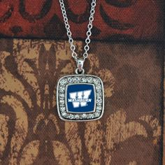 NEW Gorgeous Silver Penn State Necklace with a Square Logo Surrounded by Crystals! Finely crafted, this gorgeous women's necklace will make a great addition to State Necklace, Dog Tag Necklace, Police Jewelry, Indiana Girl, Crystal Necklace, Pendant Necklace, St Michael Pendant, Crystal Logo, Square Logo