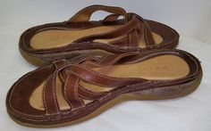 Rogue Women's Brown Strappy Leather Flat Slide Sandals Sz 6M #Rogue #Slides #Casual