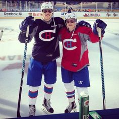 Brendan Gallagher and Nathan Beaulieu//I think it's cute how Gally is so much shorter than Nathan Hockey News, Usa Hockey, Montreal Canadiens, Hot Hockey Players, Hockey Season, Man Humor, Nhl, Motorcycle Jacket, Guys