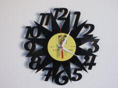 Star Recycled Record Clock by RecordTimeClocks on Etsy, $28.00