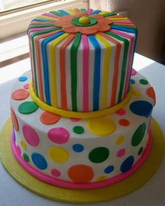 Polka dot cake. I like the bottom layer but I'm not sure how hard it would be to do fondant polka dots in multiple colors.
