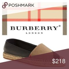 COMING SOON Burberry Black 'Hodgeson' Check Print Runs small; order one whole size up. Sized according to Italian sizes.  Iconic checks pattern an easy flat set on a breezy, jute-wrapped espadrille sole. A squared-off toe enhances the relaxed vibe, while a gilded logo plate at the heel provides a subtle touch of gleam. Slip-on style Textile or leather and textile upper/leather and textile lining/rubber sole Made in Spain 🌺🌺Coming Soon🌺🌺 Burberry Shoes Espadrilles