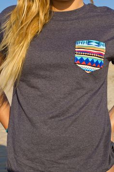 Pocket Punt | Mesh Grey Blue Aztec Pocket Punt T-Shirt