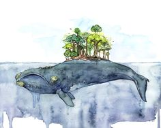 """Watercolor Whale Painting - Print titled, """"Bottomless Blue"""", Whale Island, Beach…"""