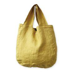 Tote bag, yellow, Lino e Lina:ホームリネン&リネンウェア Sacs Tote Bags, Sac Week End, Boho Bags, Basket Bag, Linen Bag, Simple Bags, Denim Bag, Fabric Bags, Cloth Bags