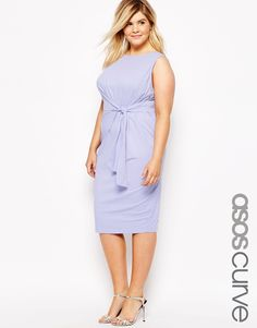 ASOS CURVE Midi Body-Conscious Dress with Knot Side