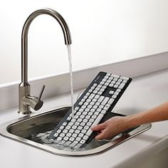 Logitech Washable Keyboard Makes a Splash. Kid spill and coffee proof! Get one!