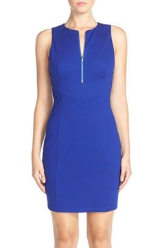 Adelyn Rae Front Zip Ponte Body-Con Dress available at #Nordstrom