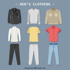 Hombres ropa colletction Vector Gratis