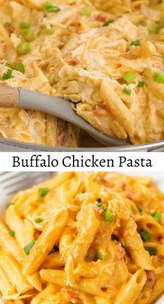 Chicken Pasta Crockpot, Buffalo Chicken Pasta, Buffalo Chicken Recipes, Chicken Pasta Recipes, Easy Pasta Recipes, Easy Dinner Recipes, Cooking Recipes, Chicken Pasta Easy, Chicken Sauce