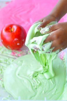 3 Ways to Play:  Apple Crumble Dough, Apple Gak, and Apple Oobleck! from Fun at Home with Kids