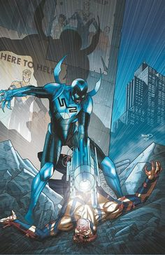 Blue Beetle vs Booster Gold by Paul Renaud