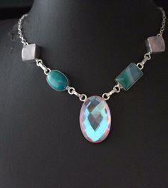 Mystic Topaz-Botswana Lace Agate-Rose Quartz Sterling Silver Plated Necklace E67 #valueforbucks #Bib