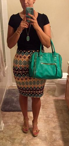 Stitch Fix. Fix No. 4 Papermoon Taluca Printed Pencil skirt and  Urban Expressions Elisha Zipper Satchel.