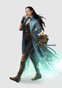 f High Elf Warlock Leather Armor Cloak Scroll Bag Tower urban Town lg Female Character Concept, Fantasy Character Design, Character Design Inspiration, Character Art, Character Creation, Dnd Characters, Fantasy Characters, Female Characters, Female Wizard