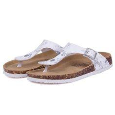 7b8e5ff16 Fashion Cork Women Glitter Flip Flops Summer Beach Shinny Sandals Shoes  Floral