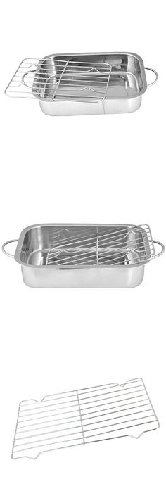 Roasting Tins 4pc Stainless Steel Trays Oven Pan Dish Baking Roaster Tray Grill Cookware, Dining & Bar Bakeware & Ovenware