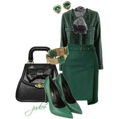 Green Ensemble, created by judieasley on Polyvore