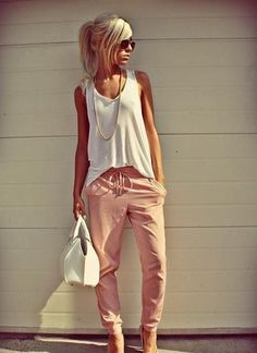 Summer Outfit. I think I want these pants.