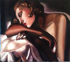 Riproduzione olio su tela di Tamara De Lempicha