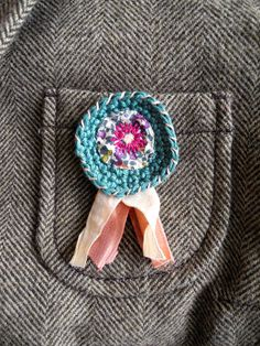 Crochet badges, Embroidered brooch, fabric jewelry, fiber jewelry, crochet brooch on Etsy, $26.36