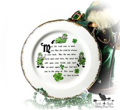 Irish Blessing Decorative Plate Vintage St by northandsouthshabby #spsteam