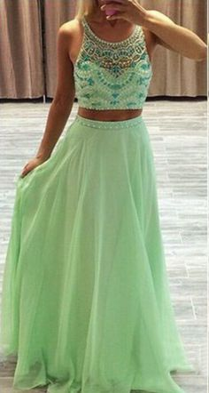 Spaghetti Straps Two Pieces Long Prom Dresses,Evening Dresses,Backless Party Dresses,Beautiful Dresses For Teens