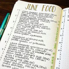 """Day 11 of the #planwithmechallenge, food  Food is like my favorite thing in the world! I could literally eat forever, but because I'm trying to become more aware of what I'm putting into my body, I started logging every meal I eat in my bullet journal  if I know the calorie count or size of the food, I put it in parentheses next to the item. And also, as I'm transitioning to vegan, on the far right I denote each vegan meal with a small """"stamp"""" to track my progress on that goal  . . . ...."""