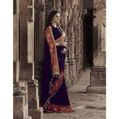 Purple Velvet Designer #Saree With Blouse- $160.01