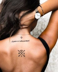 Perfect placement tattoo ideas for women - tattoos are very popular - diy tattoo images - Minimalist Tattoo Back Tattoos, Word Tattoos, Mini Tattoos, Body Art Tattoos, New Tattoos, Small Tattoos, Tatoos, Family Tattoos, Song Lyric Tattoos