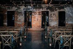 Industrial moody candlelit wedding venue - gothic + Halloween wedding inspiration Industrial Wedding Venues, Barn Wedding Venue, Best Wedding Venues, Wedding Ceremony Decorations, Wedding Pics, Dream Wedding, Wedding Ideas, Wedding Planning, Wedding Stuff