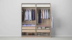PAX wardrobe options for bedroom. Combinations with doors - PAX system - IKEA Ikea Pax Wardrobe, Ikea Closet, Bedroom Wardrobe, Wardrobe Doors, Closet Storage, Bedroom Storage, Closet Organization, Bedroom Decor