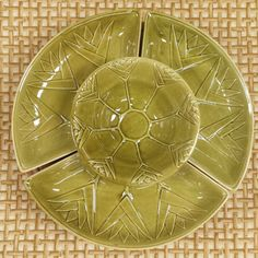 Ceramic Lazy Susan~ Calif USA ~ Chip and Dip ~ Veggie Divided Platter ~ olive green avacado ~ Bamboo / Bird of Paradise ~ Chinoiserie Chic
