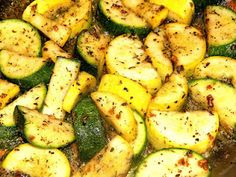 Sauteed Zucchini and Summer Squash. I added a 1/2 chopped onion and diced red pepper to this recipe. I also used 2 TBSP fresh Basil. Delicious!
